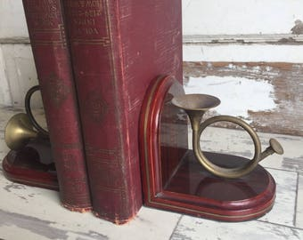 Vintage French Horn and Wood Bookends