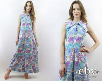Watercolors Maxi Dress Floral Maxi Dress 1970s Dress 70s Dress Hippie Dress Hippy Dress 70s Maxi Dress Blue Floral Dress S
