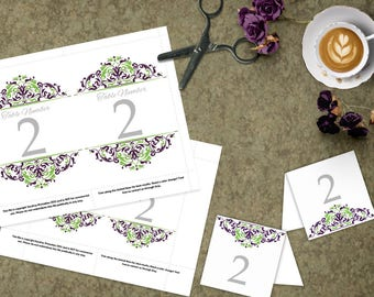 Green and Purple Wedding Table Numbers, 4x6 and 5x7 DIY Table Numbers, Printable Wedding Template, Printable Purple Tented Table Number