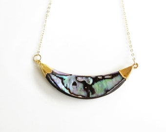 ABALONE Necklace, Abalone Curve Necklace
