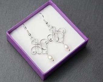 Silver Chandelier Earrings, with Freshwater pearls. Silver pearl Earrings. Silver lace earrings.