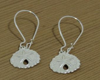 Sand Dollar Earrings, Sterling Silver, Kidneywire Earrings, Small Dangles, Sea Creature Earrings, Beach Earrings, Dainty Earrings