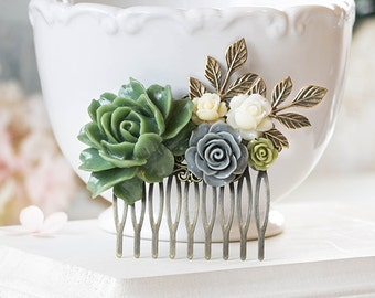 Olive Green Grey Ivory Wedding Bridal Hair Comb Green Rose Gray Flower Brass Leaf Branch Woodland Hair Accessory Fall Wedding Hairpiece