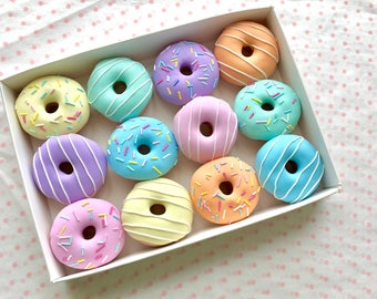 12 x 30g Pastel Doughnut Pattern Weights| AWARD WINNING | Great Sewing Gift for Birthdays | Handmade with Polymer Clay by Oh Sew Quaint |