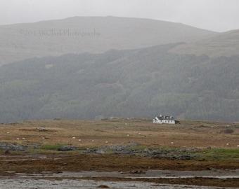Scottish Cottage Home Decor Isle of Mull White Cottage Landscape Scotland Dream Destination Misty Romantic Rolling HIlls Fantasy Outlander