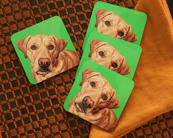 Colorful Yellow Labrador Coasters, Housewarming Gift for Lab Lover, Pop Art Kitchen and Barware, Colorful Labrador Retriever Coasters