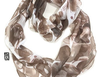 Hand painted Silk Scarf, Chiffon Scarf, Brown Infinity Scarf, Circle Scarf, Loop Scarf, Brown Spring Floral Scarf, Takuyo, Made to order