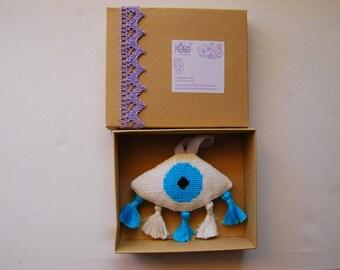 Ματι, Evileye decoration, Greek Gouri. Babyshower gift. newborn gift. Babyroom decor. Nursery. Housewarming gift. Completed cross stitch