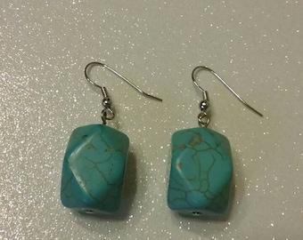 Turquoise earrings Turquoise drop earrings cowgirl earrings western wear chunky turquoise earrings trending jewelry