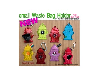 ITH Fire Hydrant Dog Waste poop Bag Holder Machine Embroidery Applique Design 4x4 5x7 multi pet