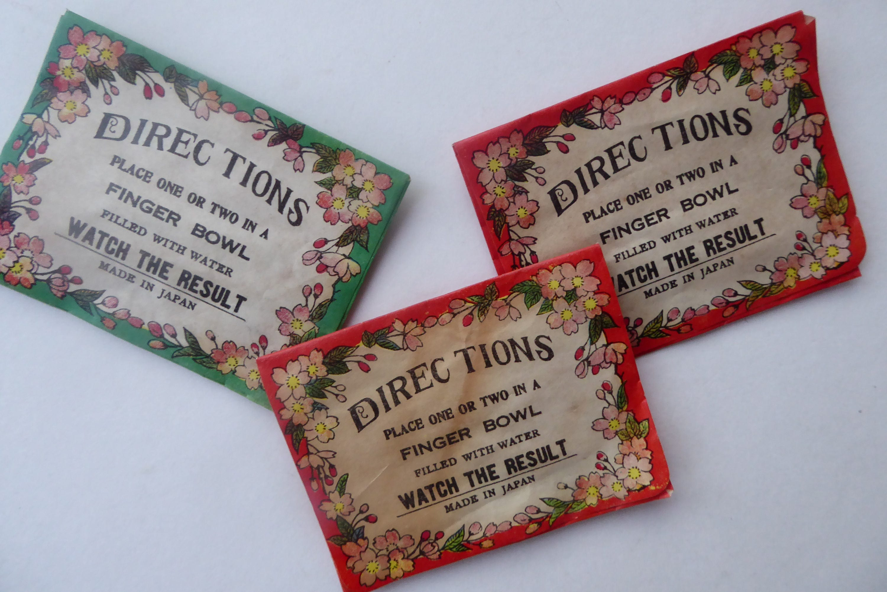 Three 1950s Japanese Water Flowers Novelty Toy Vintage Water