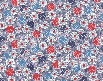 """19"""" REMNANT - Fresh Air by American Jane for Moda, #21673-14 Polka Dot Daisy Navy, Red White and Blue Flowers and Polka Dot Circles"""