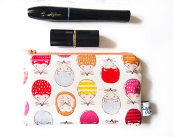 Mini Wet Bag / Coin Purse / Makeup Bag / Phone or Gadget Case with Waterproof Lining - Hedgehogs