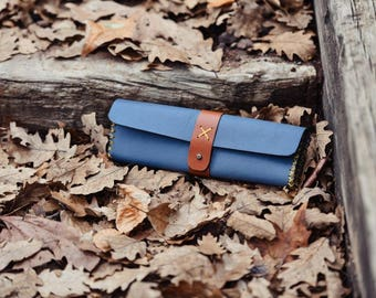 Blue Vegetable Tanned Leather Pencil Bag