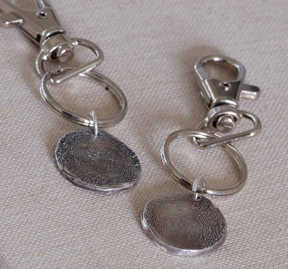 Fingerprint Jewelry -  Keychain - Gift for Dad - Thumbprint Jewelry