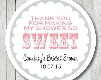 Thank You for Making My Shower So Sweet Stickers, Baby Shower Tags, Personalized Shower Labels