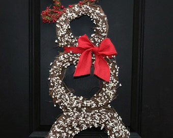 Christmas Wreath - Snowman Wreath - Holiday Wreath - Choose Scarf
