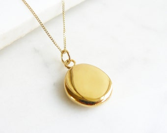 Gold pendant etsy simple gold pendant necklace aloadofball Choice Image