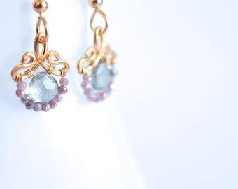 Petunia - Petite Moss Aquamarine Peach Moonstones Gold Filled Earrings | March Birthstone Earrings |