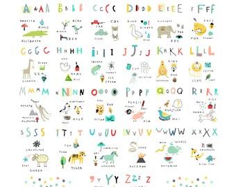 INSTANT Downloadable Vector Art; Kids Alphabet; Alphabet Art; Alphabet Printable; Clip Art; ABC Vector