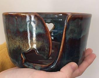 Large pottery  yarn bowl. Wool bowl. Ceramic yarn bowl. Knitting bowl.