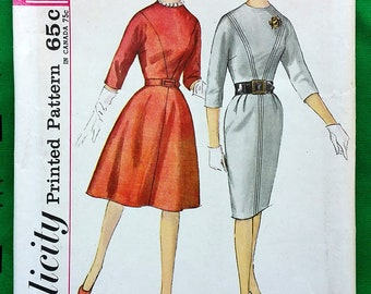 """Vintage 1960's kimono sleeve dress with two skirts, seam interest sewing pattern - Simplicity 4694 - size 12 (32"""" bust, 25"""" waist, 34"""" hip)"""
