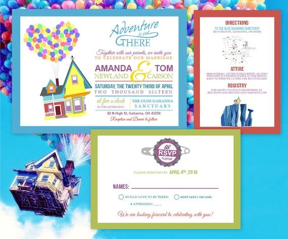 Up Themed Wedding Invitations: Custom Up Themed Wedding Invitation Suite