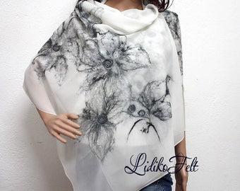 Nuno Felted Silk Scarf Shawl Wrap BLACK and WHITE FLOWERS