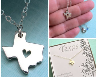 Texas Necklace with Heart Cut out, State of Texas Charm Sterling Silver  Dallas Austin San Antonio Texas Love Texas Girl Cowgirl Rodeo