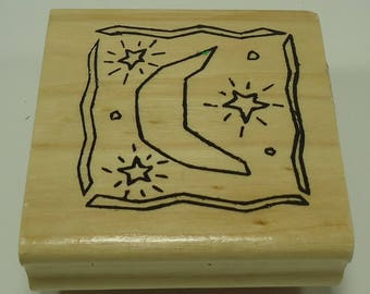 Moon And Stars Wood Mounted Rubber Stamp By Anita's