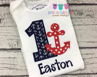 1st Birthday Anchor Birthday Outfit - Baby Boy Nautical Birthday Outfit -  1st Birthday Outfit - red navy and light blue