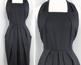 1990s Black Pique Sun Dress by MS Chaus. Sleeveless, racerback, tulip skirt, pockets. Size Extra Small or 2.