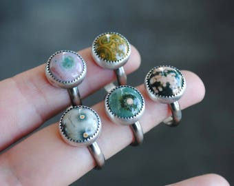 Ocean Jasper Ring, Ocean Jasper Stacking Ring, Sterling Silver Ocean Jasper Jewerly (MADE TO ORDER)