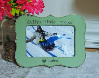 Daddy little Trooper frame Fathers day gift dad papa daddy apa Personalized photo picture frame son daughter father groom wedding gift