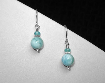 Larimar/ Sky Blue/ Angelite/ Earrings in Silver