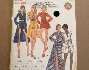 Vintage 1960's 1970's Butterick Pattern 6245 Junior Petite/Misses Dress & Shorts  Size 8 Bust 31 1/2