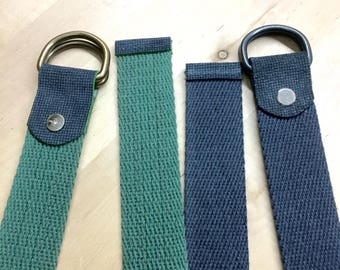 Canvas Belt,  Blue With D Ring and real Leather - Unisex