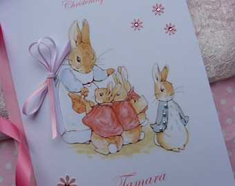 Personalised Handmade Christening / Baptism or Naming Day Card ..Flopsy and peter rabbit