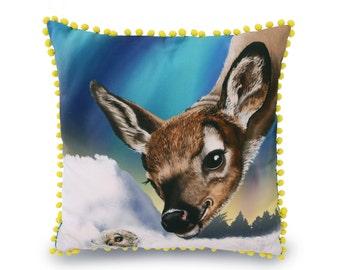 Reindeer Cushion Cover - fawn - original art - decorative pillow, throw pillow, animal cushion, animal pillow, 45 x 45 cm