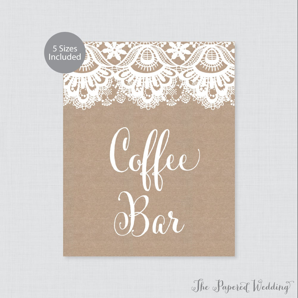 Printable Coffee Bar Sign Rustic Burlap and Lace Coffee