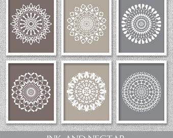 Neutral Wall Art, Printable Wall Art, Mandala Art, Office Wall Decor, Mandala Prints, Office Wall Art, Living Room Art, Set of 6 Prints