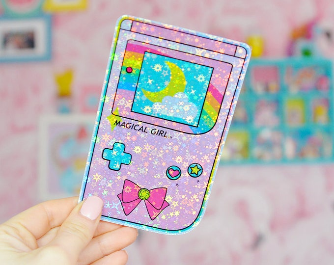 Magical Girl Gameboy Style Holographic Sticker V2