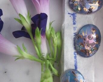 Vintage Floral Hand Painted Luster Western German Cabochon