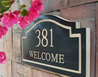 "15""x8"" Welcome Home Number Plaque, Carved Number, Engraved Plaque, Housewarming Gift, Address Sign, House Numbers, Wood Numbers"