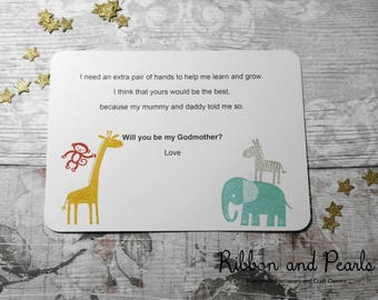 Godmother request card. Godparent request card. Baptism/christening card.