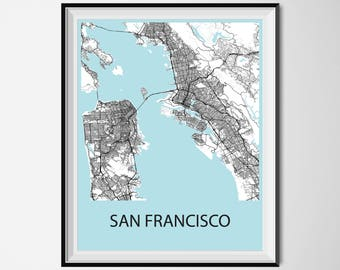 San Francisco Map Poster Print - Black and White