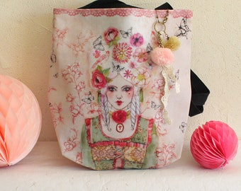"""Large Shopping bag - shoulder bag - illustrated bag - pink bag - romantic - """"Marie-Antoinette"""""""