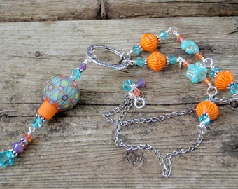 Happy Hot Air Balloon Necklace; handmade lampwork necklace; colourful necklace