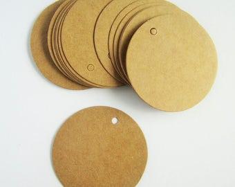 50 round circle brown kraft parcel tags - 20mm, 35mm, 50mm