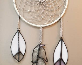 Hand Made, Beaded Dream Catcher with Stained Glass Feathers